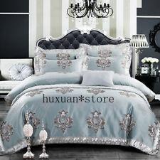 Silk Cotton Satin Emboss Jacquard Bedding Set Luxury Europe Duvet Cover Sheet