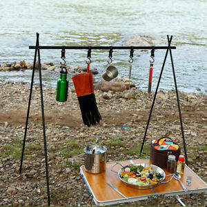 Folding Camping Shelf Clothes Storage Hanger Cookware Triangle Hanging Rack