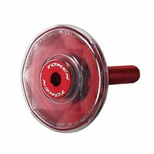 "TOKEN TK2841 Diamond 1-1/8"" Alloy Top Cap , Red"