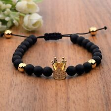 Charm Men's Cubic Zircon 24kt Gold Plated Crown Bracelet Bead Macrame Bracelets