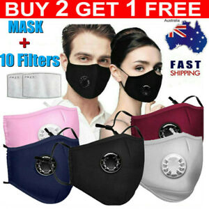 AU Face Mask Reusable Washable Anti Pollution PM2.5 Air Vents With 10PCS Filters