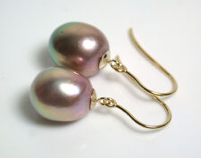 10x12mm AA++ quality metallic exotic pink freshwater pearl & 9ct gold earrings