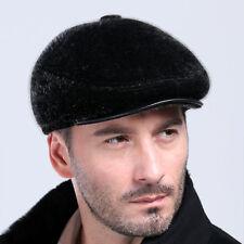 Genuine Winter Men New Fur Hat Cap Headgear Beanie Beret Cabbie Holiday Gift HOT