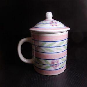 Tasse théière céramique porcelaine blanc fleur vintage art déco table N7434