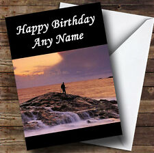 Fishing On Rock At Sea Personalised Birthday Greetings Card