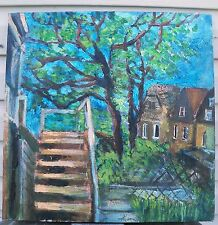 STEPS  by RUTH FREEMAN ACRYLIC ON UNSTRETCHED CANVAS 18 X 18