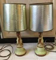 Vintage Pair Of Bedside Ceramic Gazelle Lamps With Original Shades Nightstand