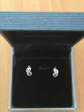 18ct White Gold Baguette Round Diamond Stud Earrings.