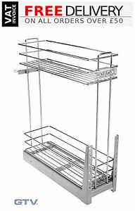 Pull Out Soft Close Wire Basket Base Storage Unit 150, 200, 300, 400, 500, 600mm