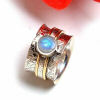 White Rainbow Moonstone Solid 925 Sterling Silver Spinner Ring Meditation Ring