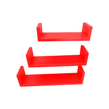 Vintage Style Wall Mounted Floating Shelves U-Shaped Red Wall Shelves Set of 3