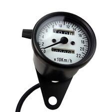 Mini Tachometer Schwarz mit weissem ZFB Motorradtacho für Cafe Racer Bobber