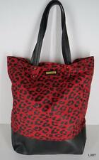 REBECCA MINKOFF Red Black Leopard Print Nylon Leather Trim Tote Purse Bag EUC
