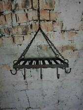 Vintage Rustic Shabby Chic Black Kitchen Hanging Rack Utensils Cutlery Pots Pans