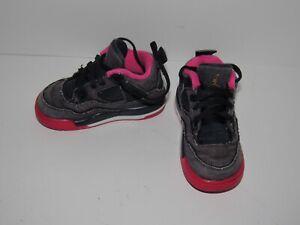 Nike Air Jordan Retro 4 Denim Blue Pink Shoes 705345-408 Girls Toddler Baby 7C 7