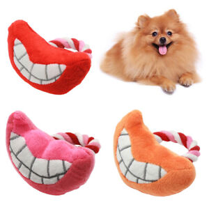 KQ_ PW_ FT- Pet Dog Cats Puppy Cotton Rope Teeth Lip Shape Plush Doll Squeaky Ch
