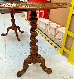 Victorian Style Solid Carved Dark Oak Barley Twist Pedestal Table - CS Y07