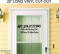 Door Vinyl No Soliciting Warning Sign Decal Sticker Banner Security funny gift