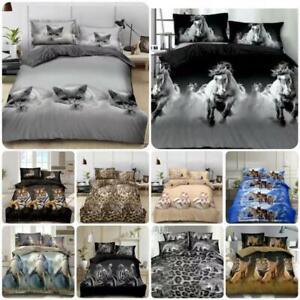 3D Animal Print Duvet Cover Set Duvet Cover Sheet Pillowcase Single Double King