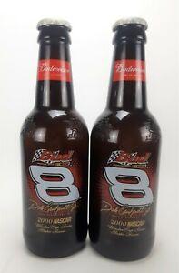 Dale Earnhardt Jr #8 NASCAR 2000 Large Glass Budweiser Beer Bottle **Set of 2**
