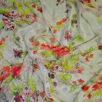 Italian designer authentic crepe silk fabric chiffon. Multicolor. Price for 1m..