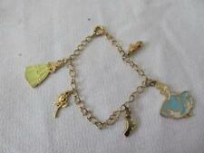 Gold Disney Princess Girl's Charm Bracelet - Belle & Cinderella & Charms