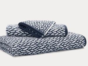 """NEW Ralph Lauren Sanders Cotton Bath Towel Full Size 30"""" x 56"""" in navy"""