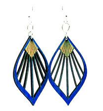 Green Tree Jewelry Royal Blue Fan Leaf Wood Wooden Laser Cut Earrings #1028