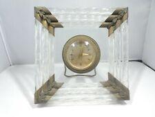 ART DECO ITALIAN MURANO GLASS ROD DESK CLOCK WORKING
