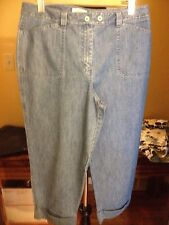 """Talbots Cropped AntiqueBlueColored Jeans 2 1/2""""Cuffs @theBottom Ladies  Sz 14"""