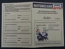 BLANKO ABE Betriebserlaubnis solex mofa fahrrad  hilfsmotor motobecane  S 3800