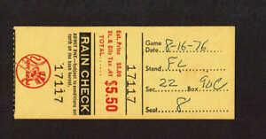 1976  NEW YORK YANKEES vs TEXAS RANGERS  TICKET STUB