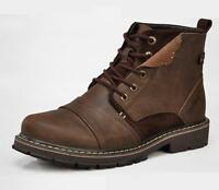 New Mens lace up genuine Leather desert military shoes Work chukka ankle Boots