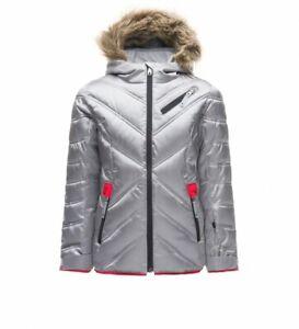Spyder Girls Hottie Jacket, Ski Snowboarding Jacket, Silver,Size 10 (Girl's) NWT