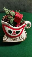 Vintage 1960 Holt-Howard Christmas Holiday Sleigh Planter MINT With Decorations