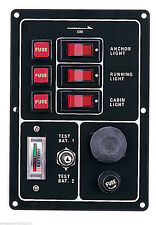Marine Boat Aluminum Switch Panel 3 Gang w/ Battery Tester & Horn Push Button