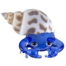 Miniature Hand Blown Glass Dark Blue Hermit Crab In Natural Shell Figurine New!