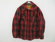 Vintage Woolrich Hunting Coat Jacket Mens 44 Red Black Buffalo Plaid Wool USA