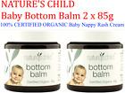 2 x 85g NATURE'S CHILD Bottom Balm 100% CERTIFIED ORGANIC Baby Nappy Rash Cream