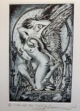 Sergij IVANOV Ukraine Erotic Nude Leda & Swan Schwan exlibris Etching C3