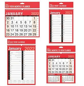 2022 Calendar & Planner - A4, A3, Easy View Wall Hanging Various Choice
