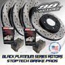 [88 Rotors] Black Platinum Drilled & Slotted Brake Rotors & Stoptech Pads F+R