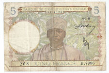 New listing West African States 5 francs 6-3-1941