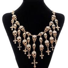Totenkopf Skull Kreuz gothic Design Kette Collier Strass weiß gold plattiert neu