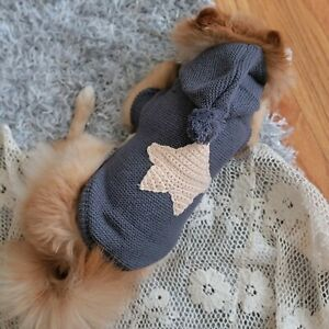 Knitted Dark Grey Sweater/Jumper/Hoodie With a Yellow Star For Small Dog/Pet