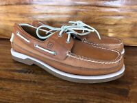 """Pristine Men's Sperry """"Mako"""" Boat Shoes Brown Leather Size 10.5"""