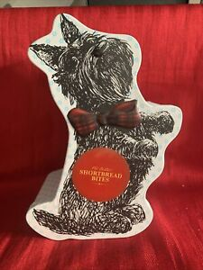 SCOTTIE DOG/HIGHLAND TERRIER NOVELTY EMBOSSED BISCUIT TIN, COLLECTABLE -EMPTY