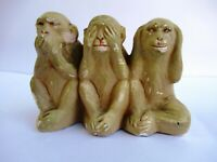 Vintage Gandhi'S Three Monkeys Set White Soft Stone Statue Figurine Decorative*F