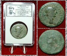 Ancient Roman Empire Coin Of TRAJAN ABUNDANTIA Seated Holding Sceptre