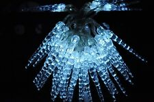 50 LED WHITE SOLAR ICICLE CHRISTMAS OR WEDDING PARTY LIGHTS